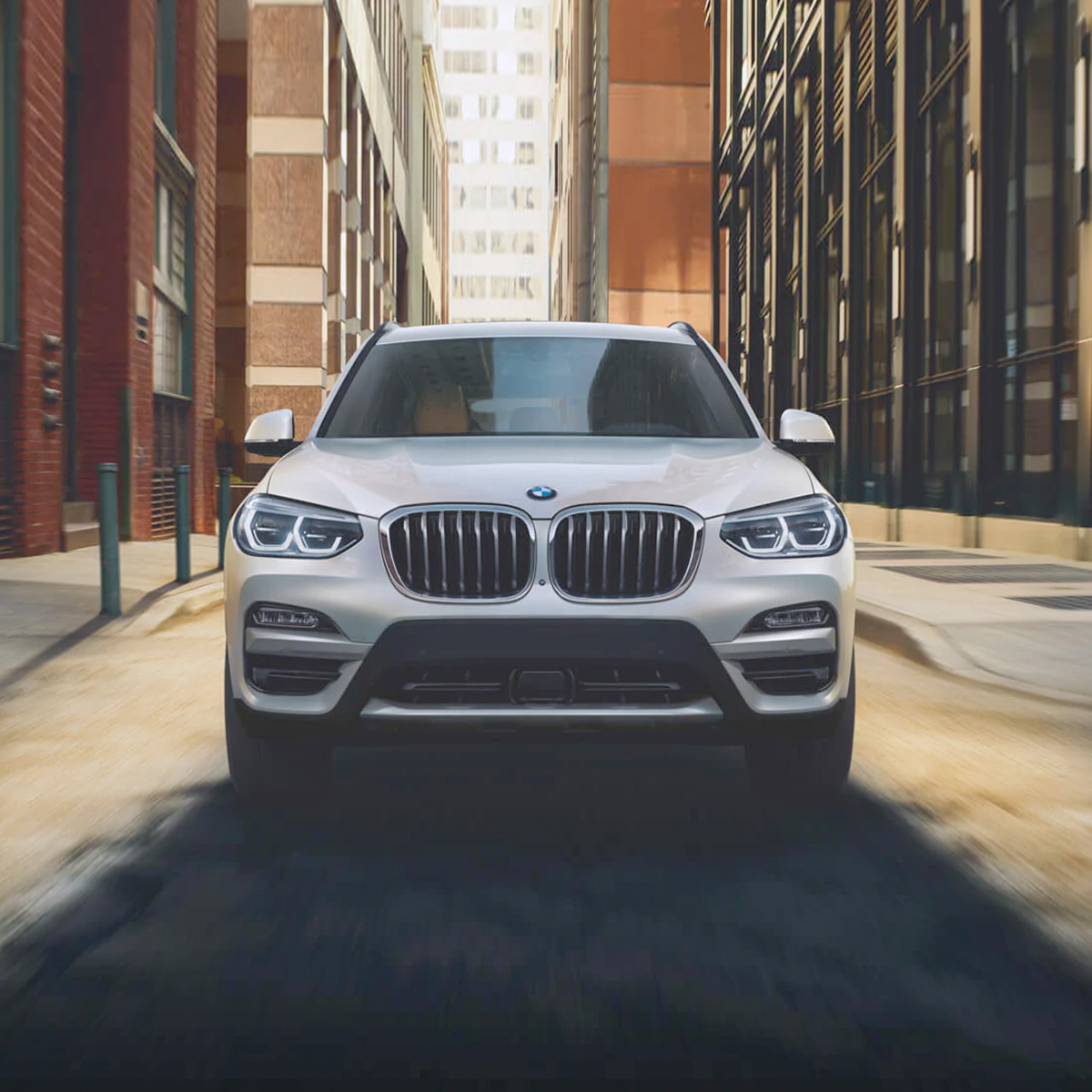 Front view of white 2021 BMW X3
